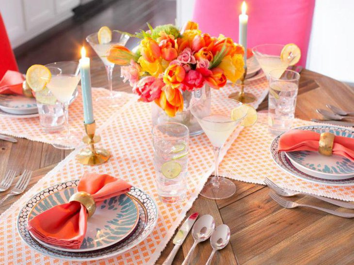 Floral and lemony spring table setting