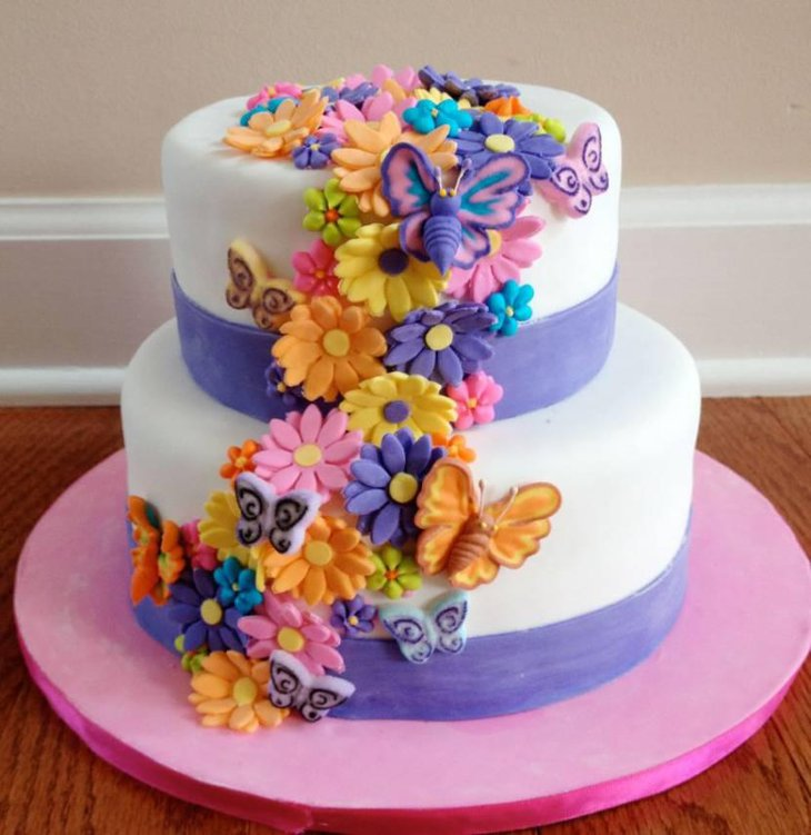 Floral Cake Design Decorated With Butterflies
