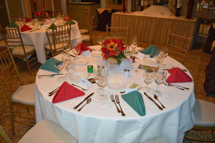 Floral decor on retirement party table