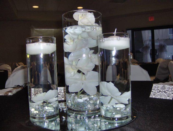 Floral white candle glass jar wedding table centerpiece