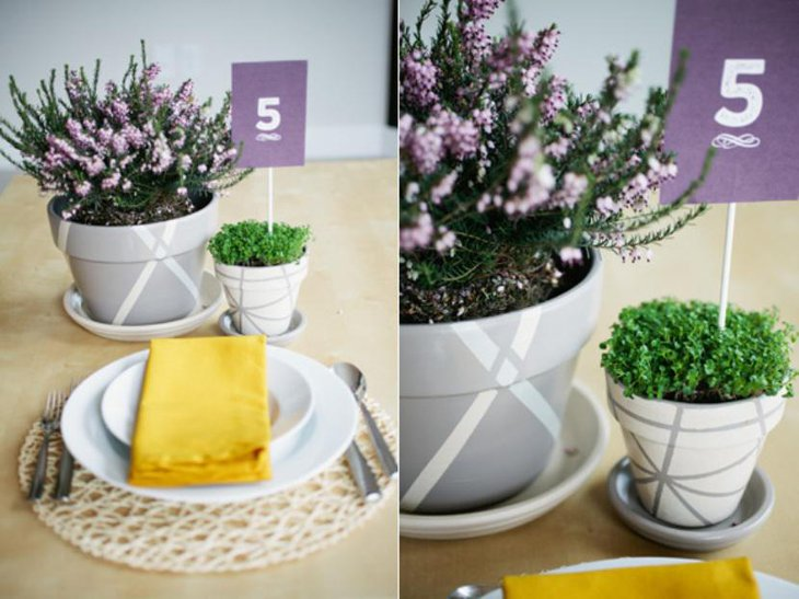 flower pots paired with a pop of color in the napkins