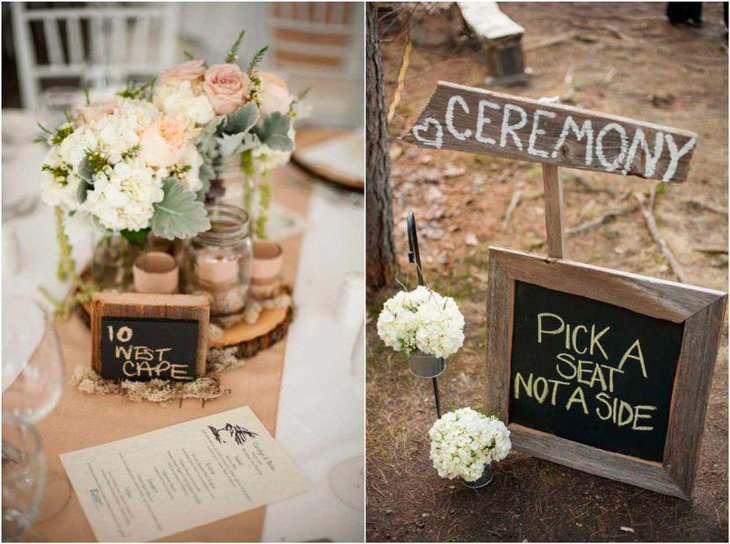 Flowers and chalkboard decor seen on this country wedding table