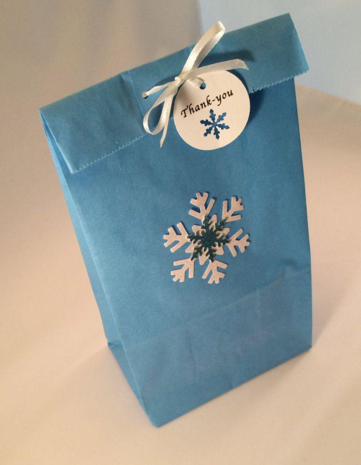 Frozen themed favor bag with snowflake design