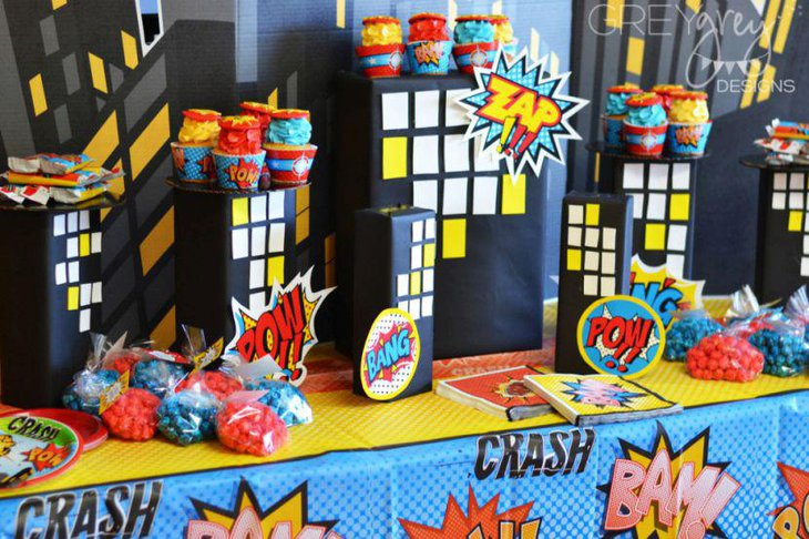 Fun Superhero Themed First Birthday Party Table Setting For Boys