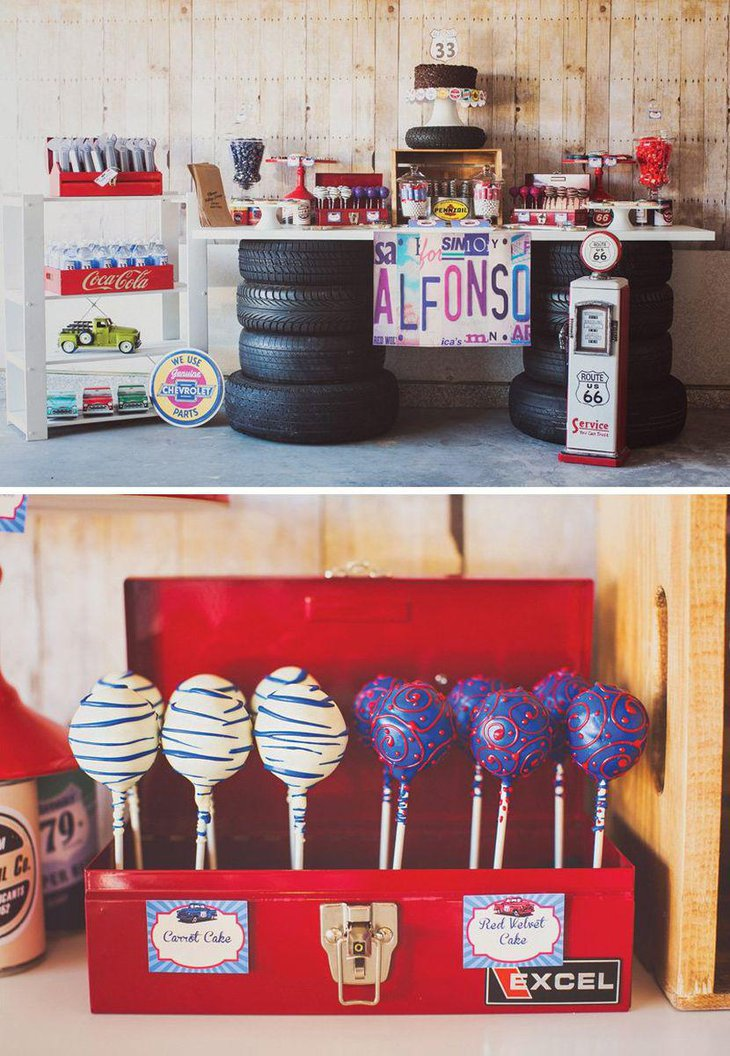 Garage Themed Adult Birthday Table Decor