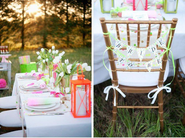 Garden party tablescape with flowers and lantern