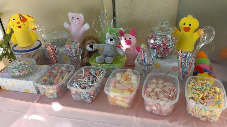 Girl baby shower candy table decorations with cute animals
