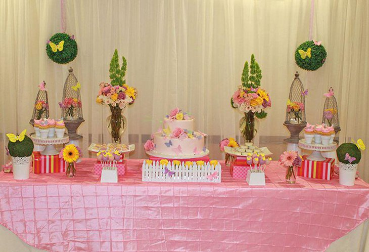 Girl baby shower table decor with butterfly theme