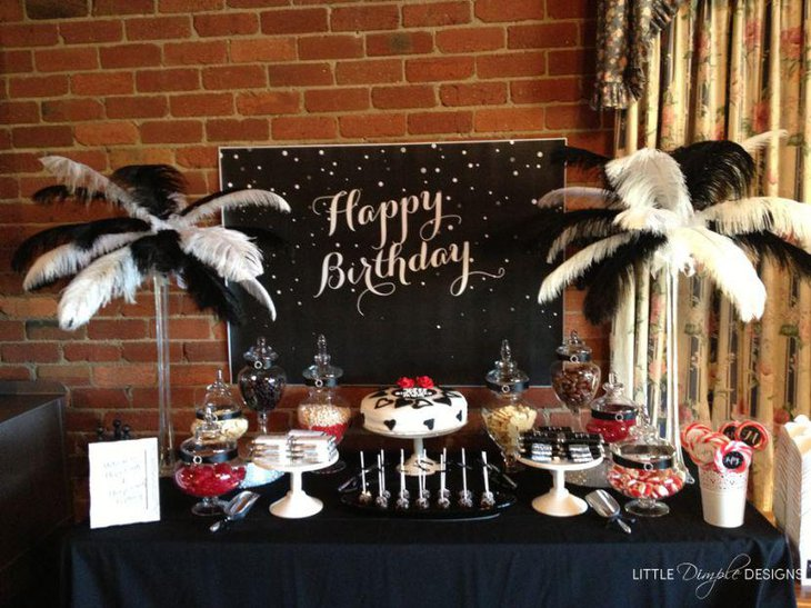 Glam Adult Birthday Table Decor In Black And White Theme