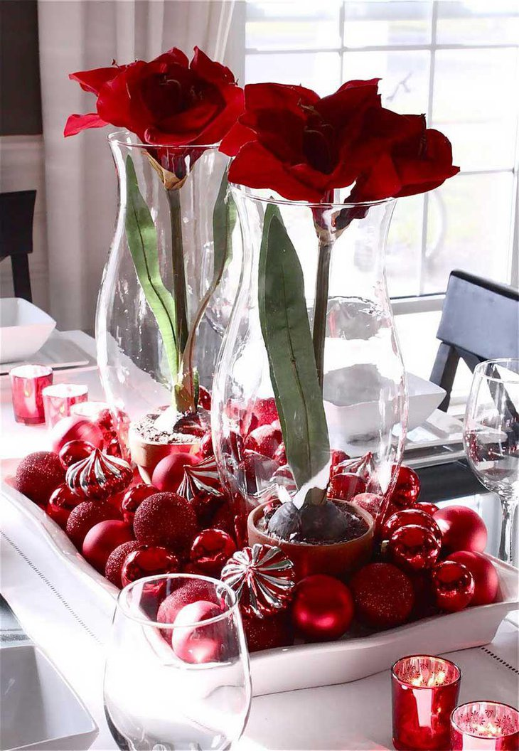 Glass Jar and White Tray Christmas Table Centerpiece Filled With Faux Flower and Red Ornaments