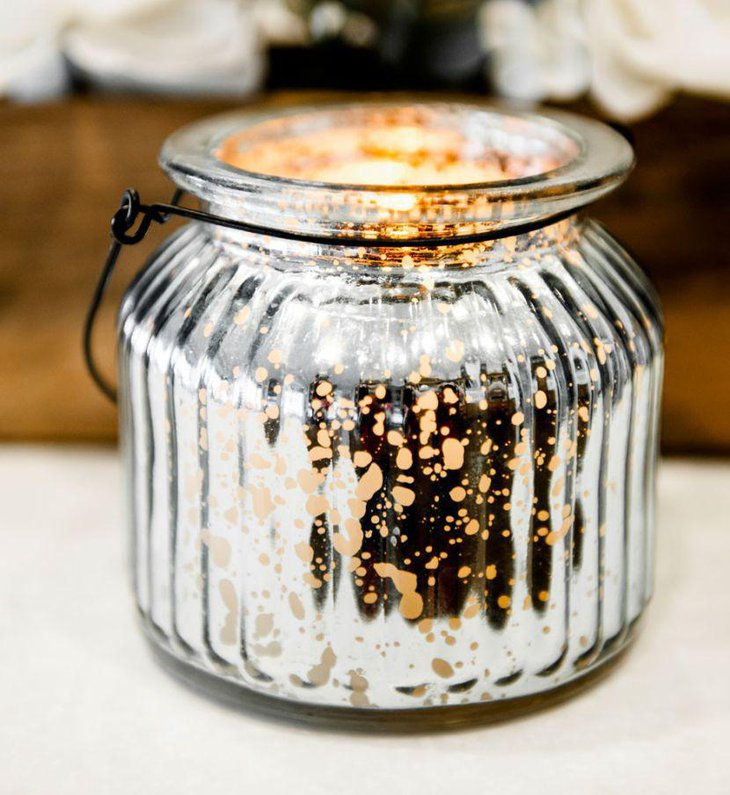 Glass jar silver mercury candle holder centerpiece for wedding table 1