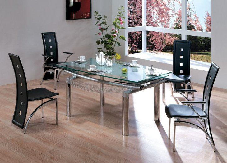Glass Top Expandable Dining Table With Metal Bars Frame Design