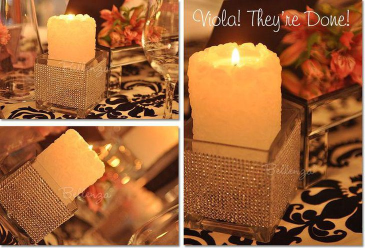 Glitzy candle decor for adult birthday table