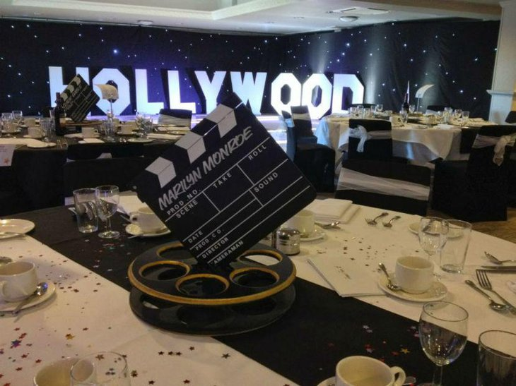 Glitzy Hollywood styled party table decor
