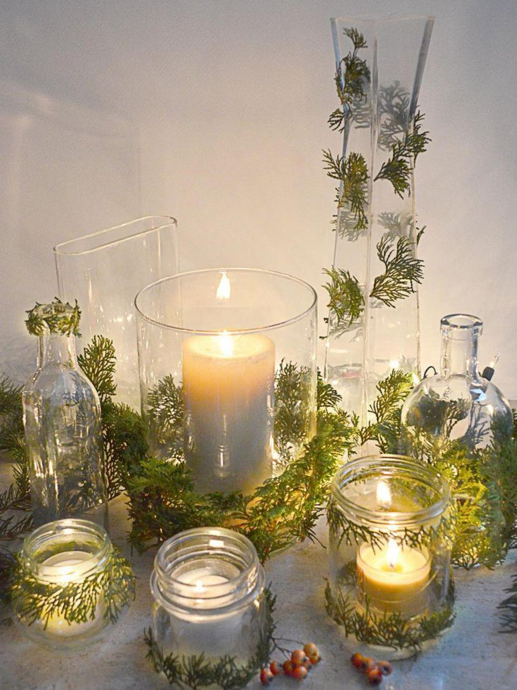 Glowing candles in mason jars for a heavenly table setup