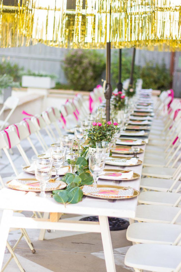 Gold and pink accented bridal shower table decor