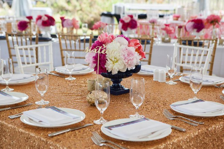 Gold Colored Sequin Table Linen for Weddings