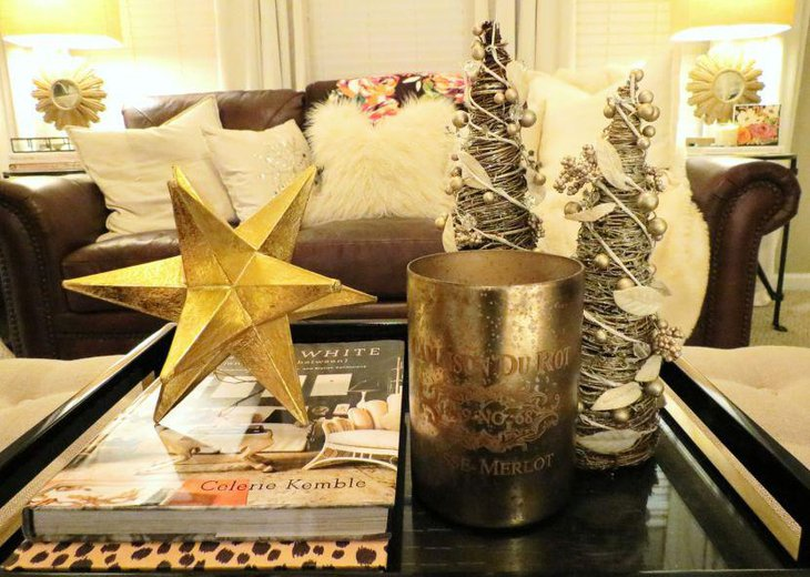 Golden accented coffee table decor