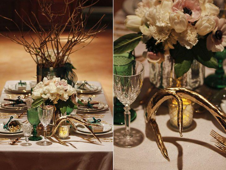 Golden antlar and floral arrangement for winter wedding table