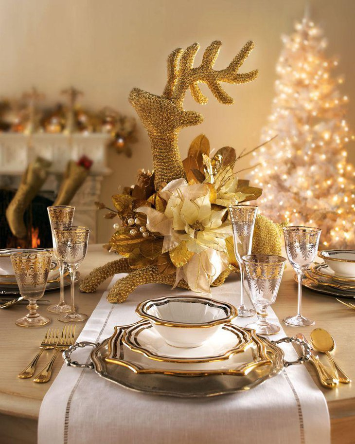 Golden Reindeer Christmas Table Centerpiece With Fake Floral Arrangement