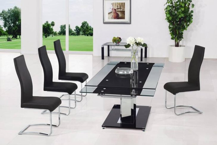 Good Extendable Frosted Glass Table