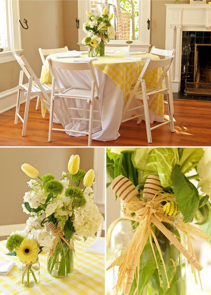 Gorgeous Bee Themed Baby Shower Table Centerpiece