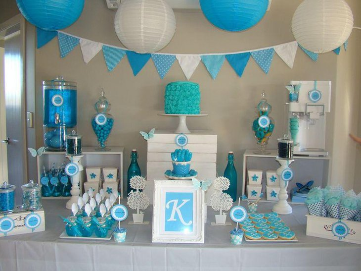 Gorgeous blue birthday candy table decor