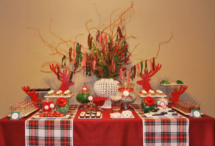 Gorgeous Christmas party dessert table decor with plaid runners red and green candies