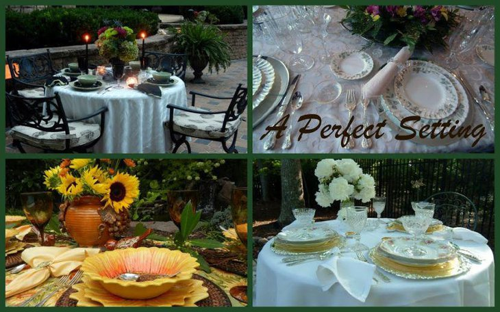 Gorgeous flower decorations on outdoor bridal shower tables