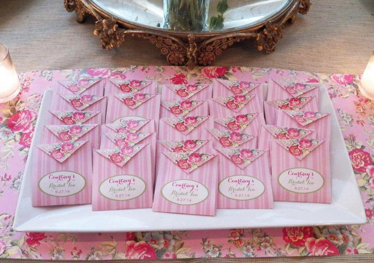 Gorgeous pink accented tea party favors