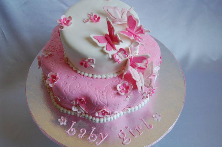Gorgeous pink and white butterfly baby shower cake
