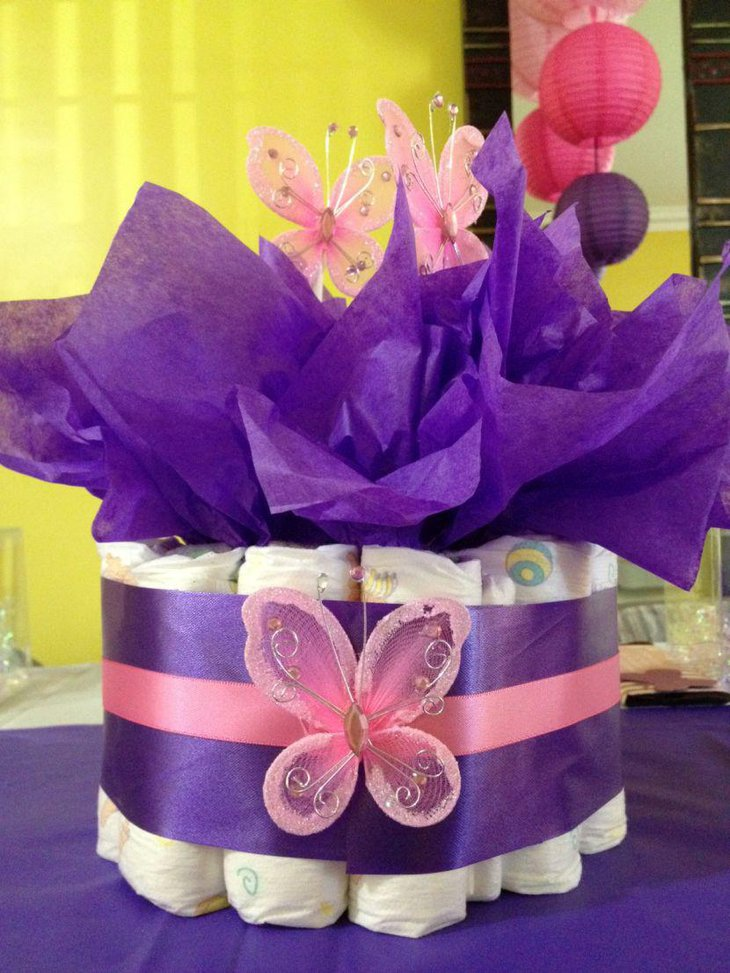 Gorgeous purple accented diaper butterfly baby shower centerpiece