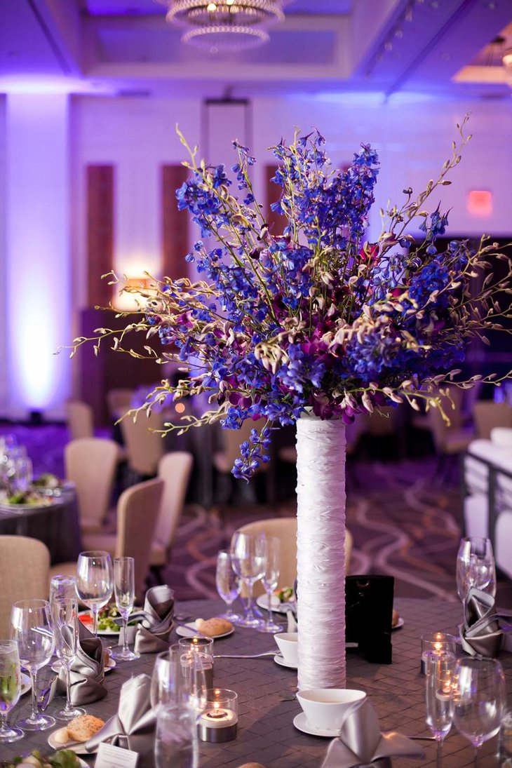 Gorgeous Purple and Blue Centerpeice for Weddings