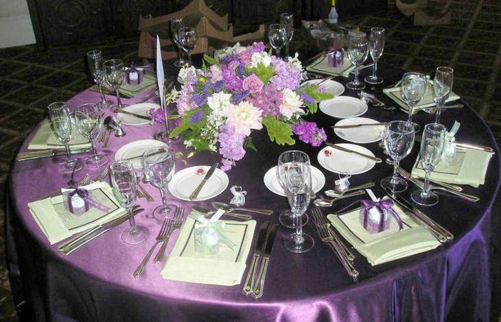 Gorgeous purple reception party tablescape