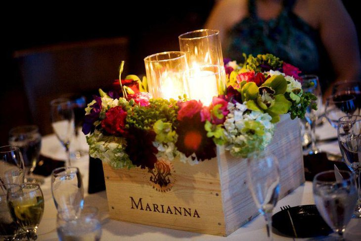Gorgeous Rustic Wedding Table Setting With Wine Box Flowers and Candle glasses