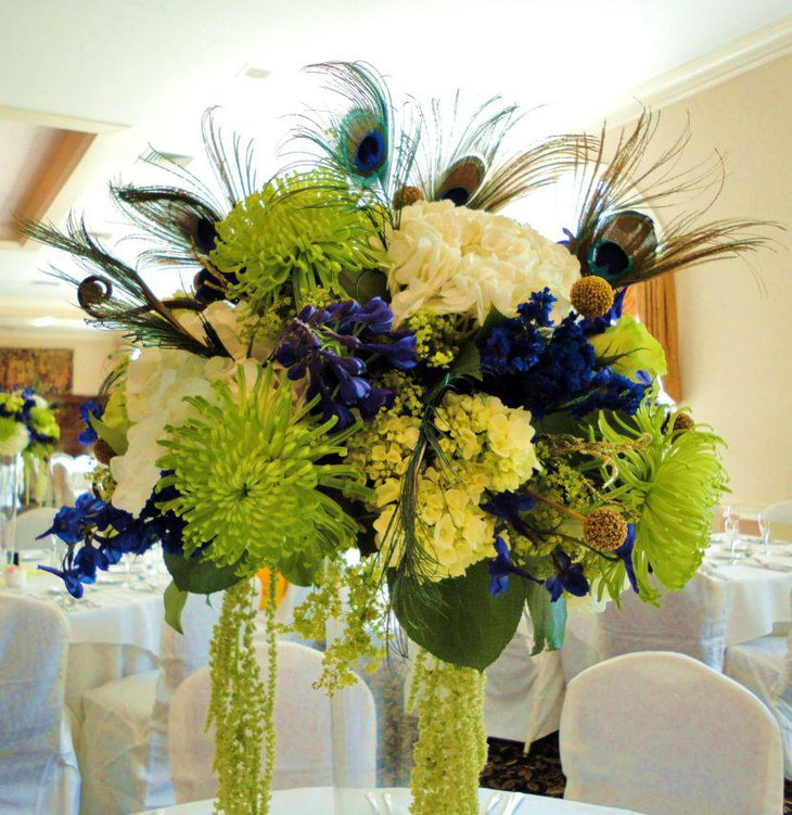 Peacock Wedding Centerpieces Ideas: 33 Gorgeous Peacock Centerpieces