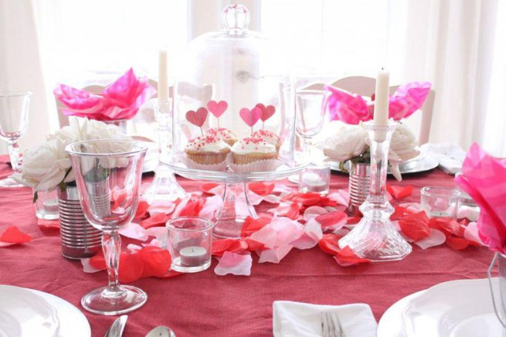 Gorgeous white candle decor on Valentine table