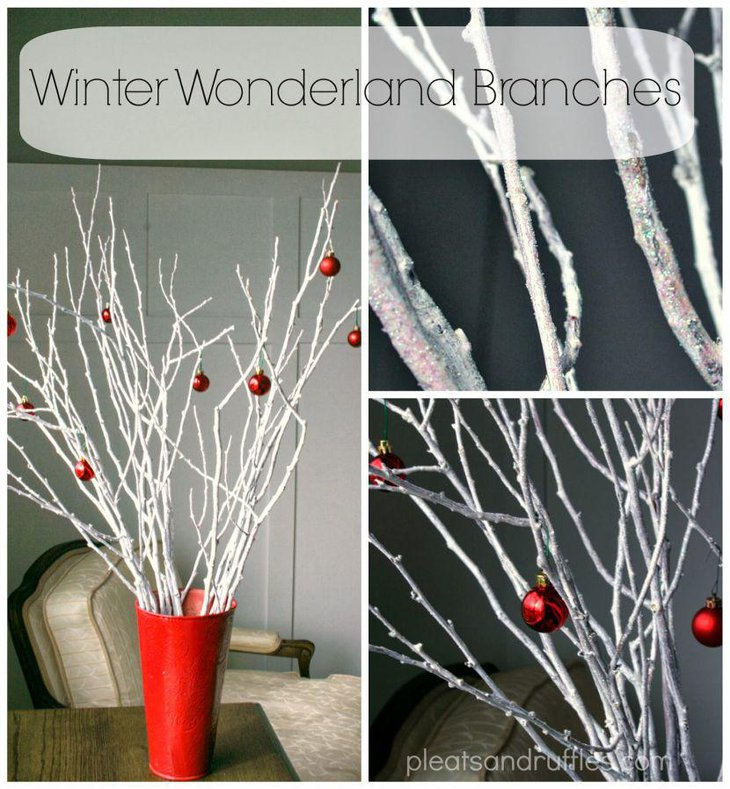 Gorgeous winter wonderland branches in a red vase