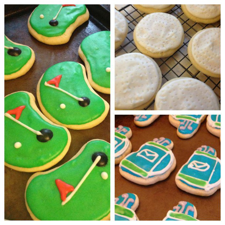 Grandpas 80th birthday table is adorned with these adorable golf themed sugar cookies