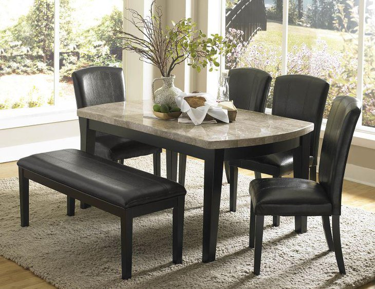 Granite Dining Table With Black Leather Chairs And Bench