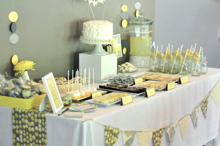 Gray and Yellow Baby Shower Food Ideas