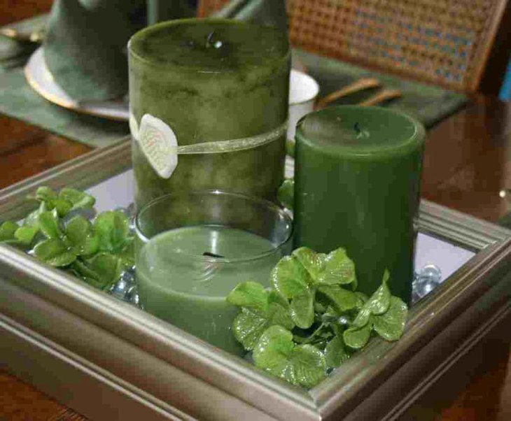 Green candle table centerpiece