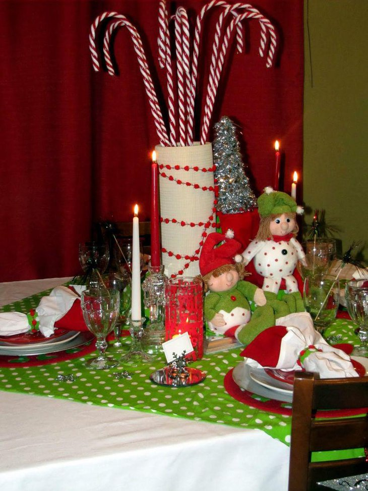 Green polka dotted table cover looks cheerful and very festive