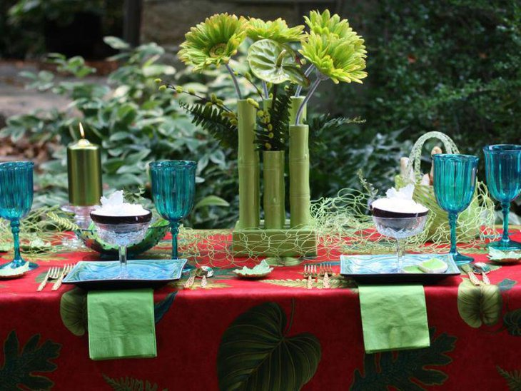 Green tropical themed garden party table decor