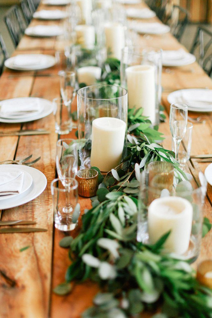 Greens and pillar candles gussy up this Italian table