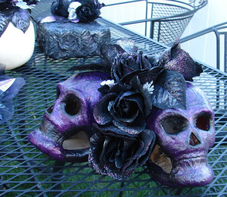 Halloween tabletop decor with Gothic styled skulls and roses