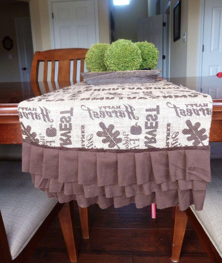 Harvest burlap table runner with printed text