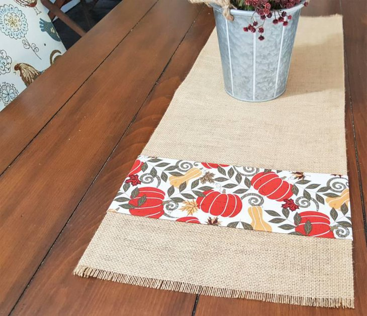Harvest Pumpkin Burlap Table Runner