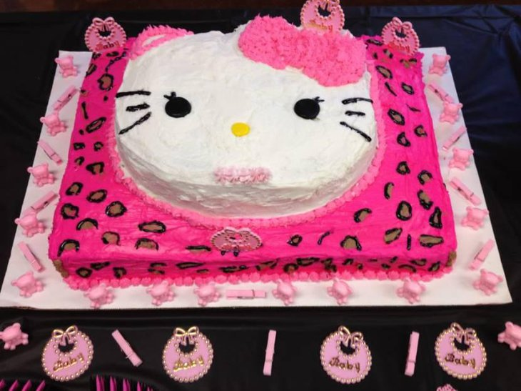 Hello Kitty Cheetah Print Baby Shower Cake