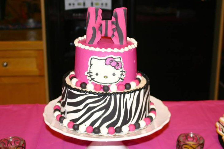 Hello Kitty Hot Pink Zebra Striped Baby Shower Cake